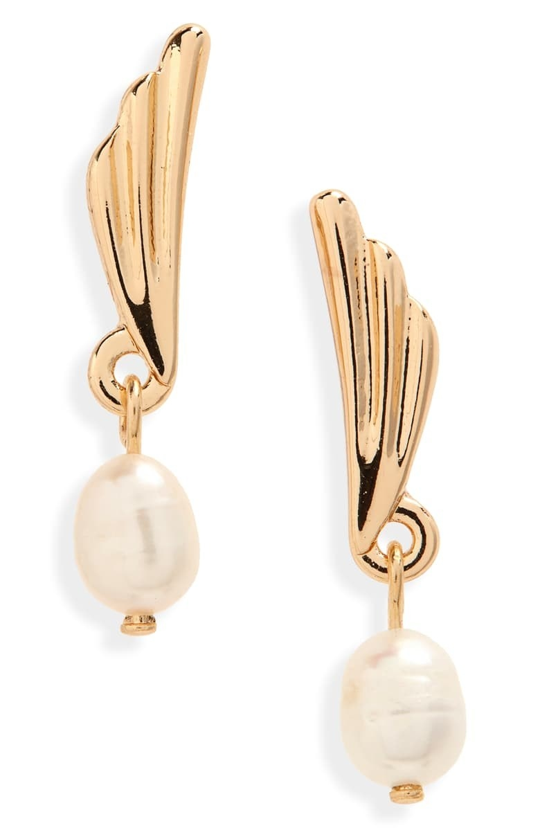 drop style pearl earrings with gold tone wing part
