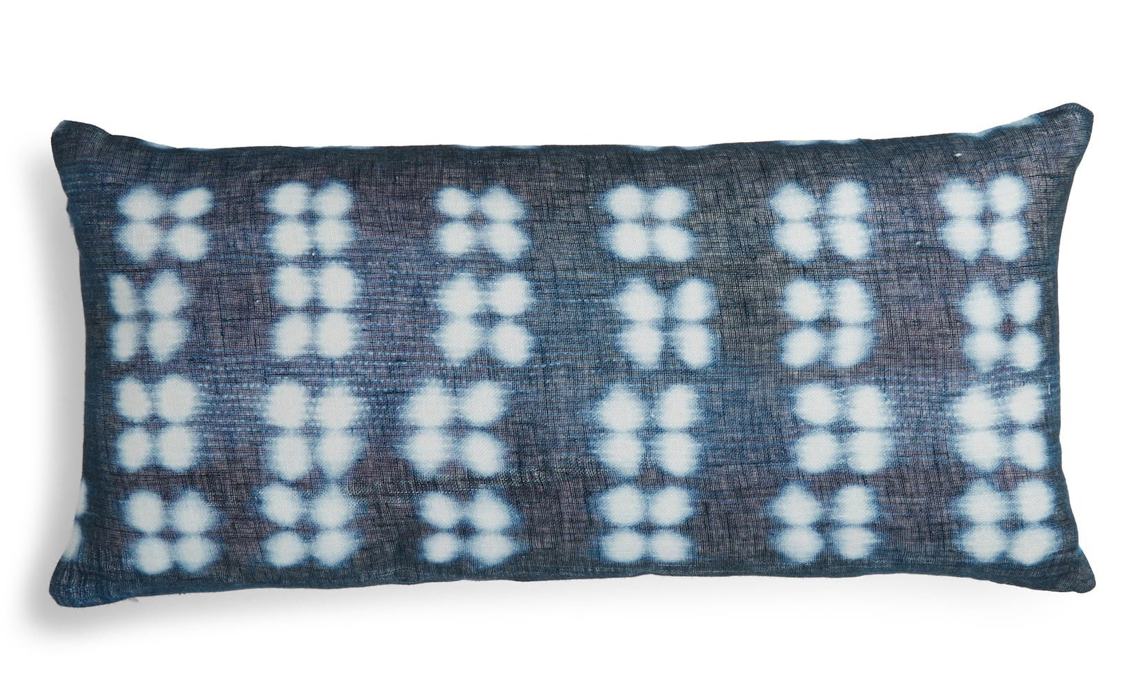 lumbar shaped pillow in navy dyed pattern