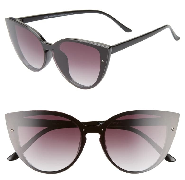 side and front view of black cat eye sunglasses