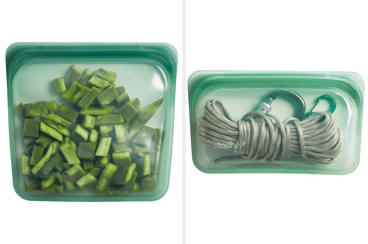 Two different sizes of agave-colored storage bags, one filled with diced peppers and the other filled with a carabiner and a rope