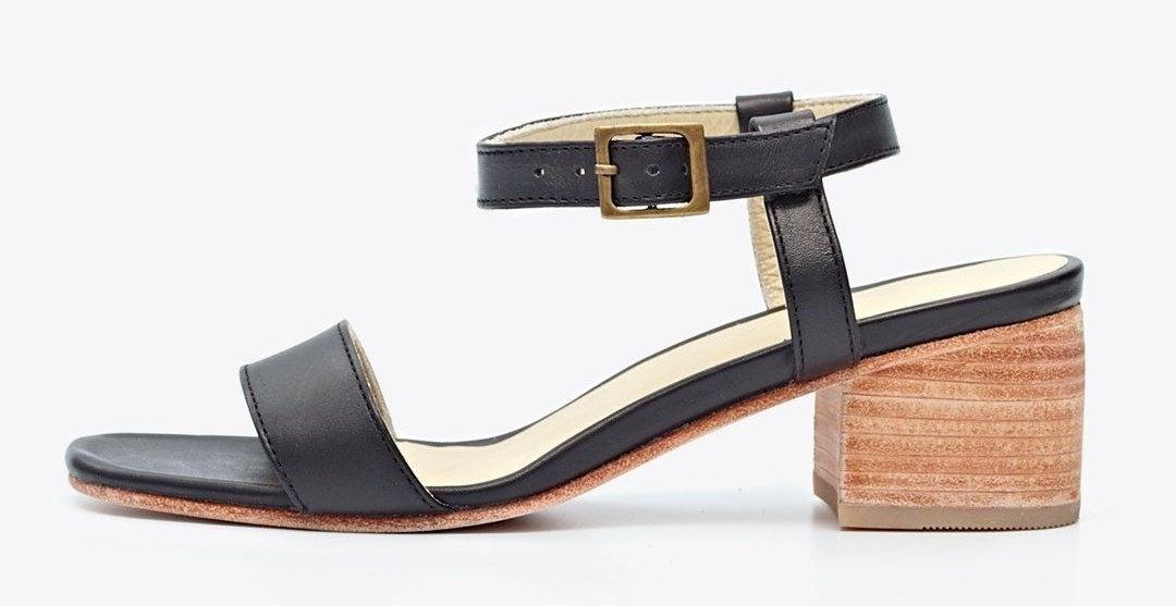 Black ankle-strap, stacked wooden heel sandals