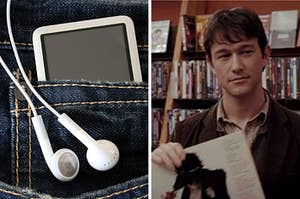 "On the left, an MP3 player and headphone cords stick out of a pocket in pair of denim jeans, and on the right, Joseph Gordon Levitt holds up a vinyl at a record store as Tom in ""500 Days of Summer"""
