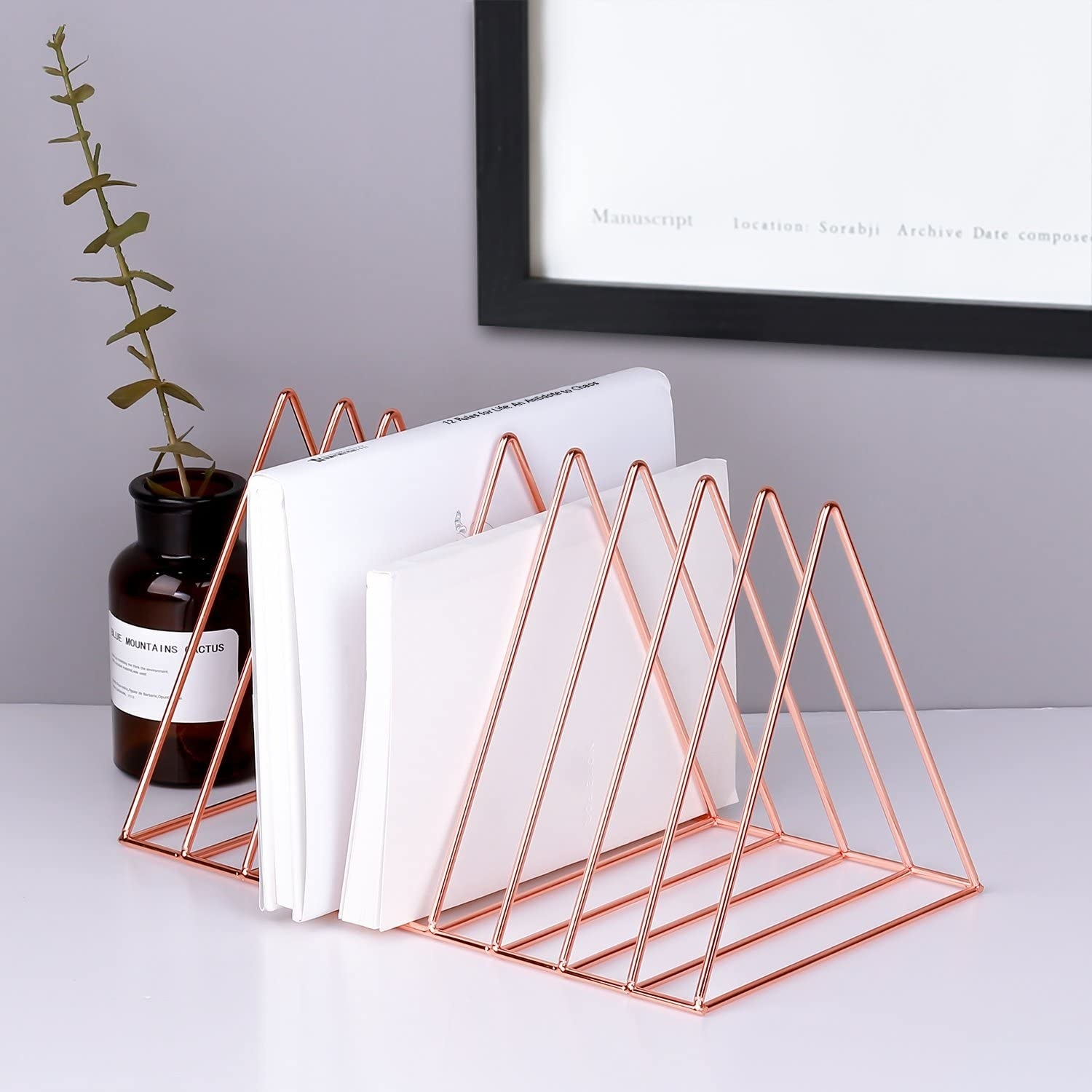 A triangular magazine holder with books in it is on a flat surface