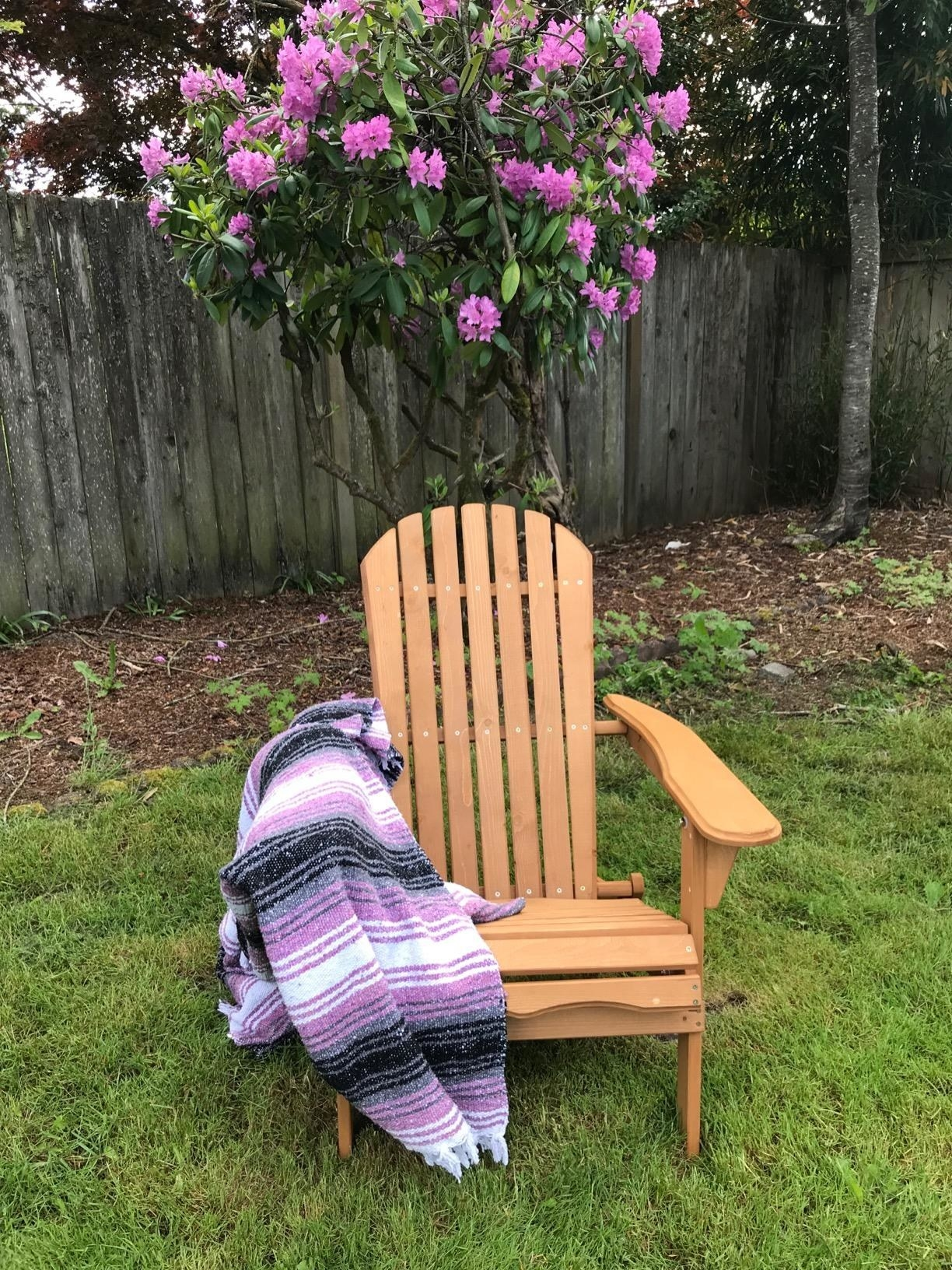 A reviewer photo of the wood chair outside, which in classic Adirondack chair style, leans back somewhat and has two big armrests