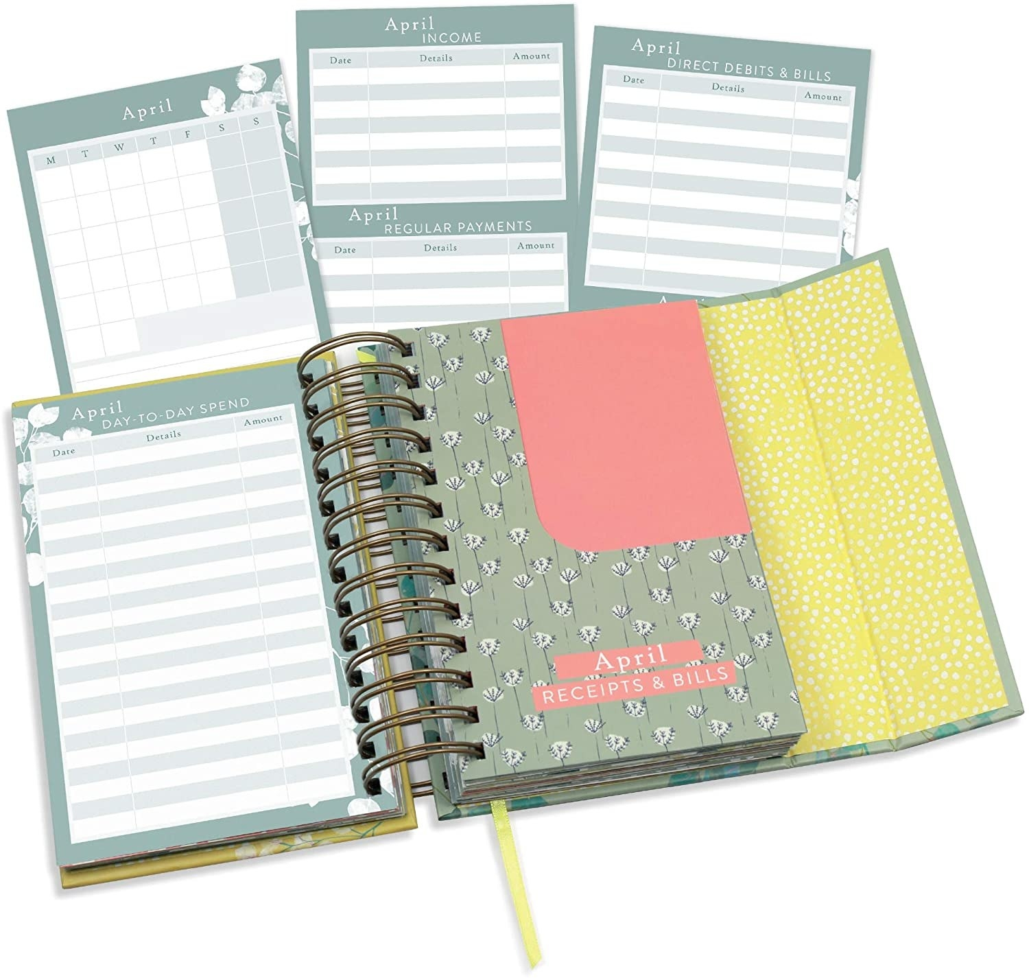 The green floral planner open to show its different pages, including monthly and day-to-day pages, and trackers for income, regular payments, and bills. There's also a pretty floral pocket for monthly receipts and bills