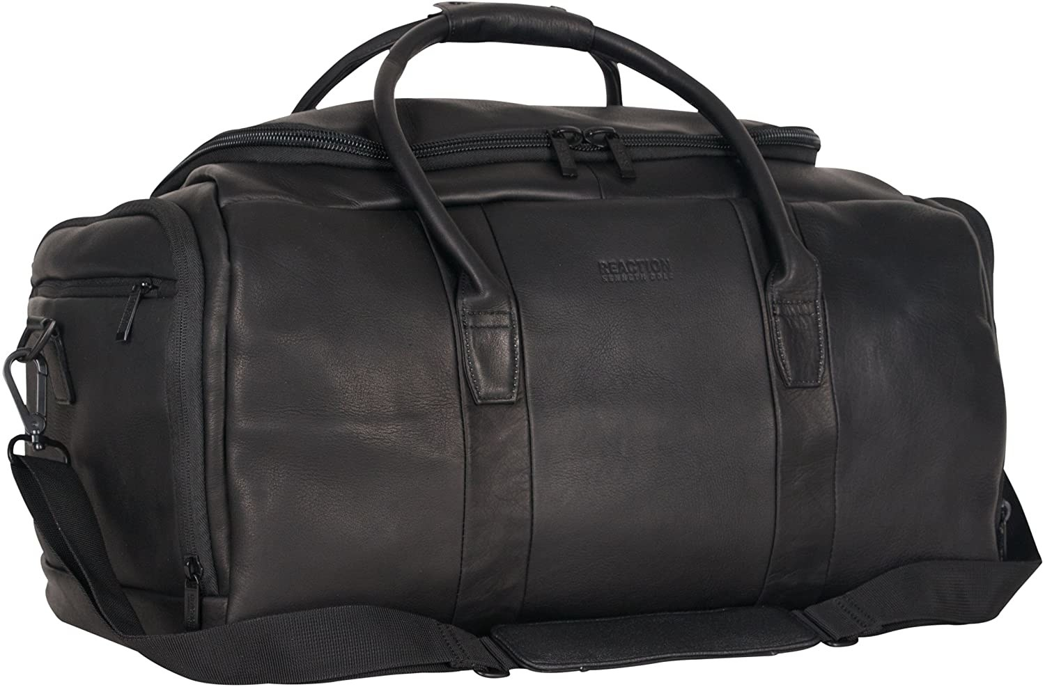 A large leather duffel bag with many pockets is shown against a plain background