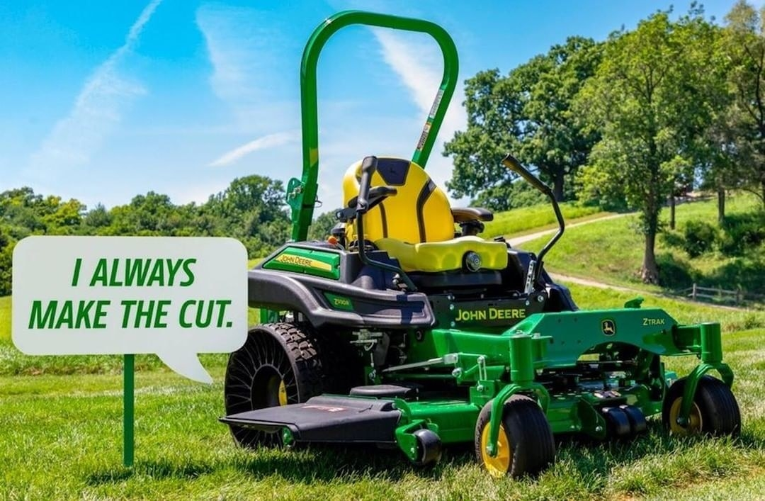 a ride-on john deere lawn mower