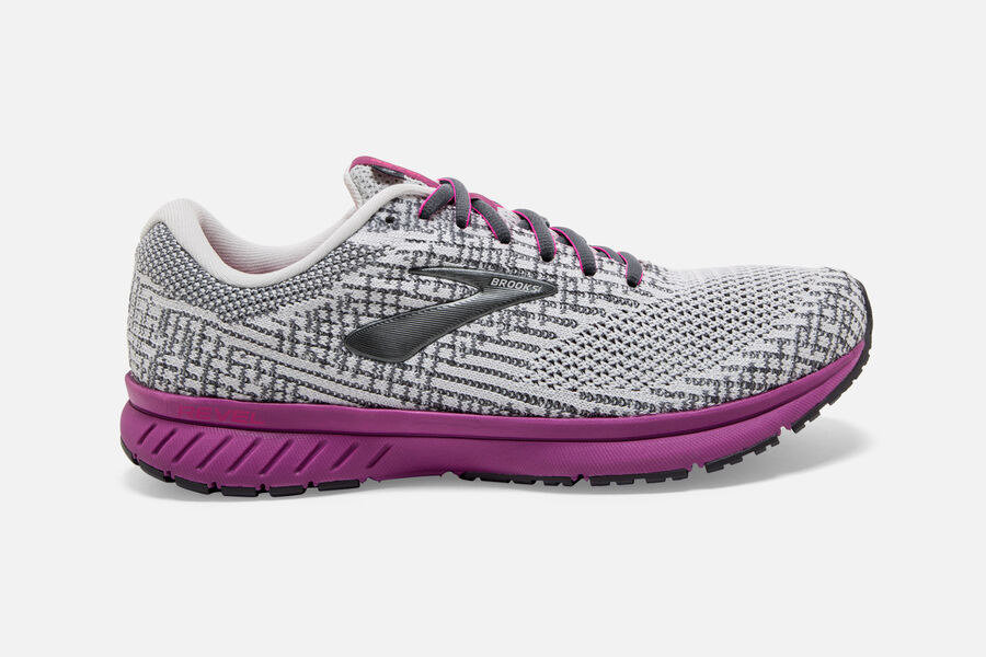 The running shoe with pink sole and grey knitted design through the body