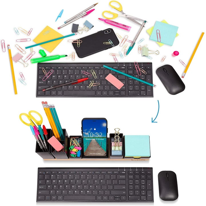 On top, office supplies and a phone scattered all around a keyboard and mouse. On the bottom, the supplies neatly in the organizer in front of the keyboard