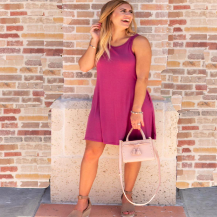 A customer review pic of the T-shirt dress in mauve