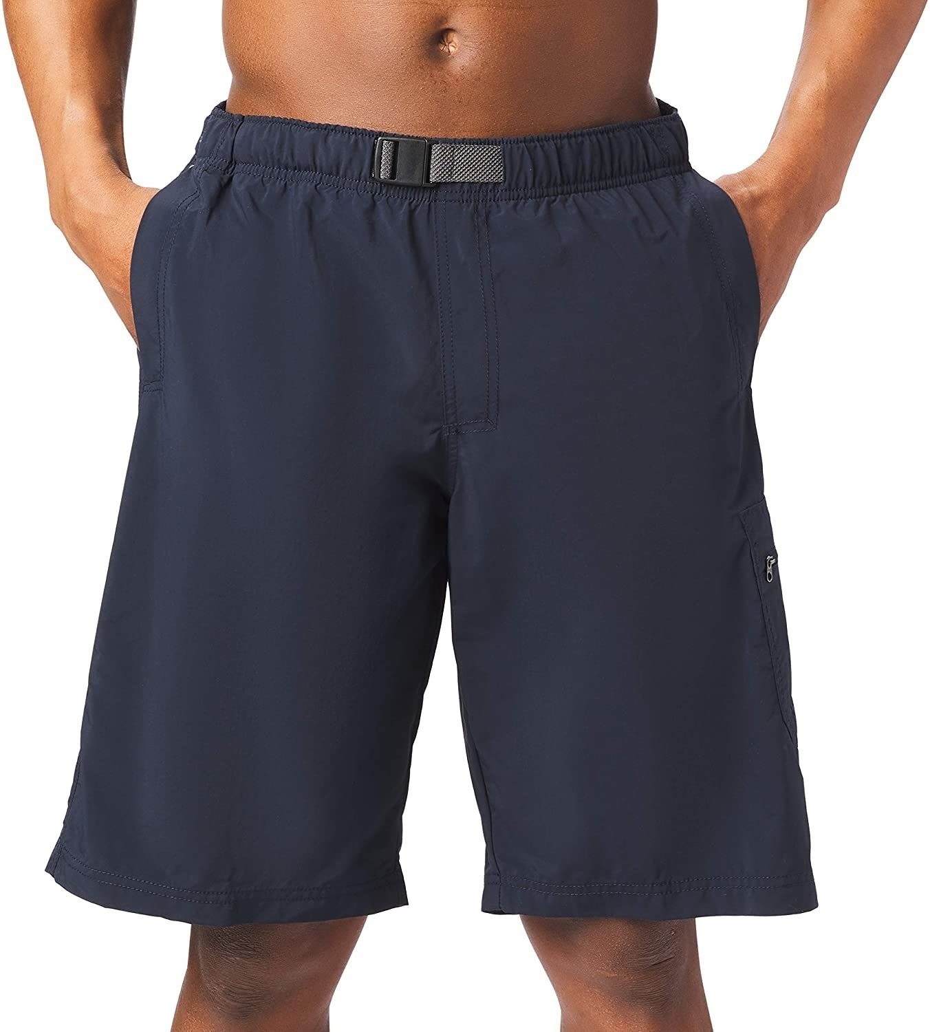 model in navy knee-length shorts with an elastic, adjustable waist