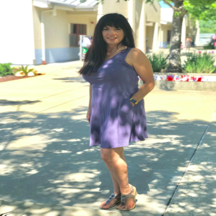 A customer review pic of the T-shirt dress in purple-gray