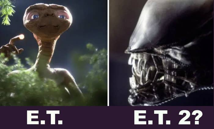 E.T. and an alien with scary teeth