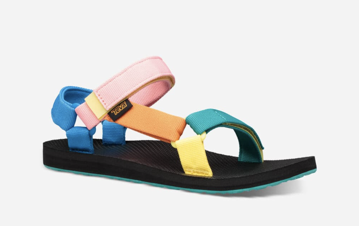 The sandal with black foot bed and assorted-colored straps