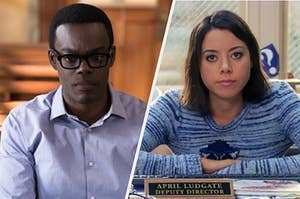 """On the left, William Jackson Harper looks worried as Chidi in """"The Good Place,"""" and on the right, Aubrey Plaza smiles softly and sits at a desk as April on """"Parks and Rec"""""""