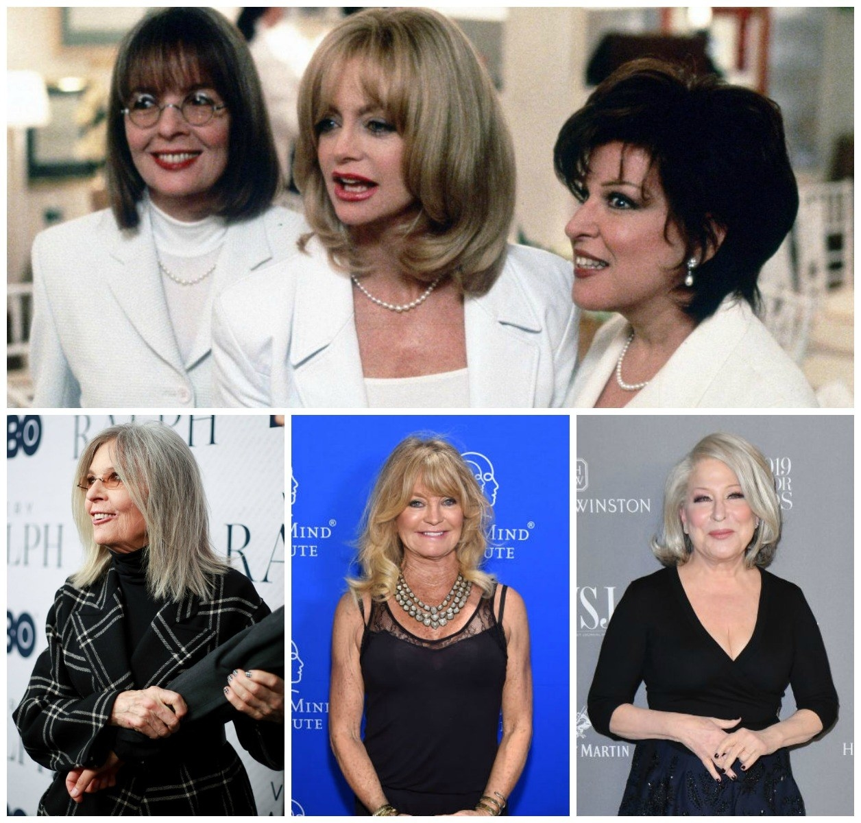 Diane Keaton, Goldie Hawn, and Bette Midler in First Wive's Club and today