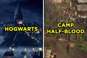"On the left, the exterior of Hogwarts at night in ""Harry Potter and the Sorcerer's Stone,"" and on the right, the cabins of Camp Half-Blood in ""Percy Jackson & the Olympians: The Lightning Thief"""