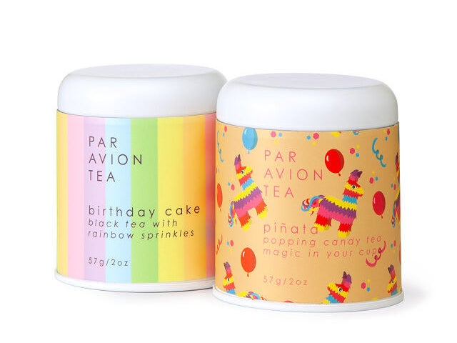 the birthday tea in its colorful canisters