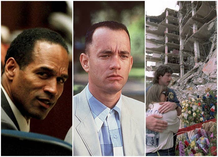 Three images side-by-side of O.J. Simpson at his murder trial, Forrest Gump, and the Oklahoma City bombing