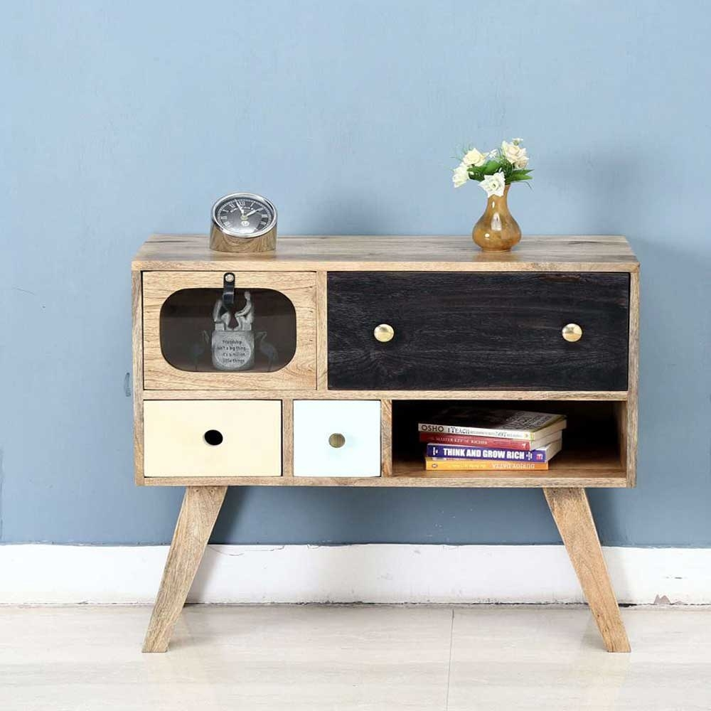 1 open Shelf, 4 Multicoloured Drawer Cabinet, Mango Wood