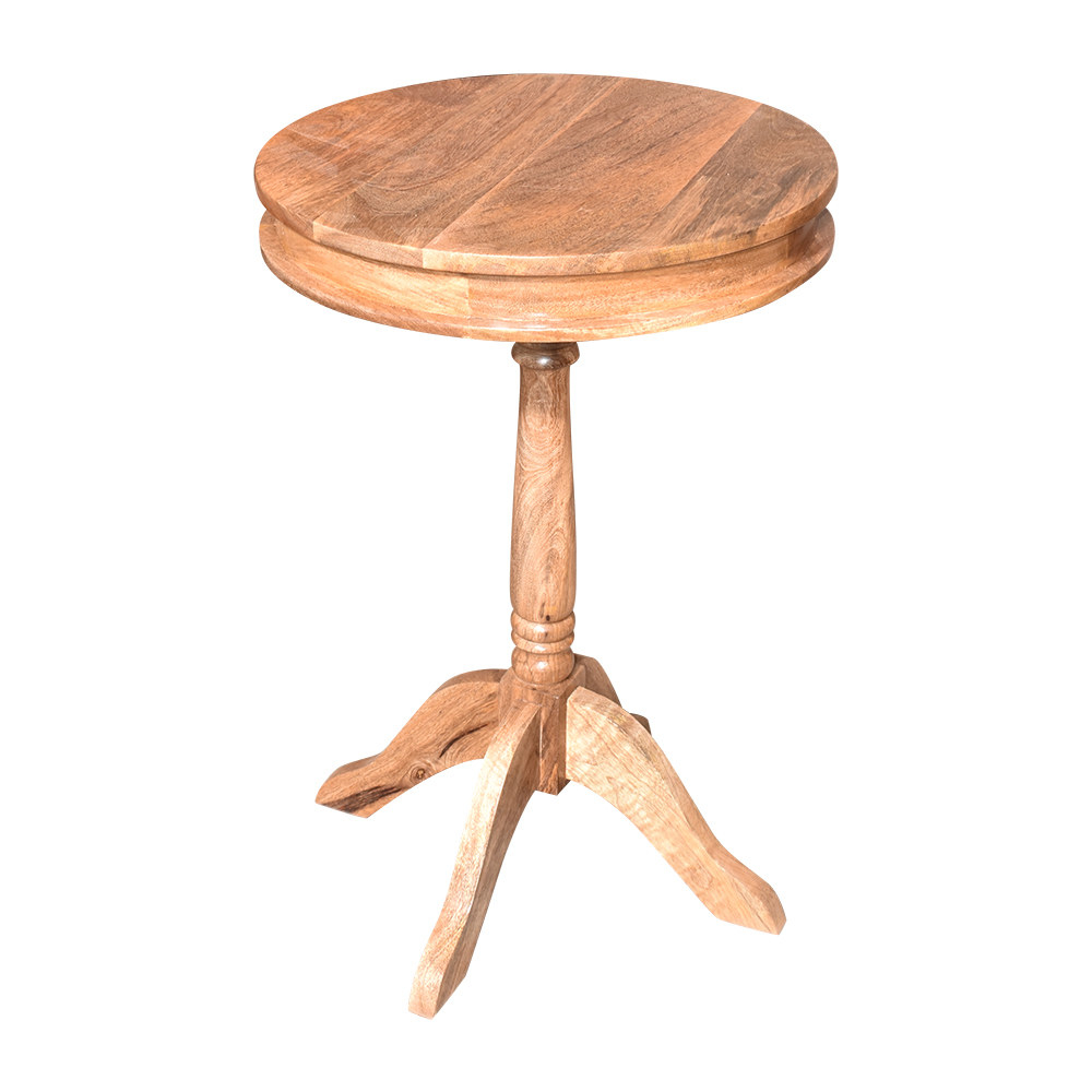 Round Wheel Style Side Table, Mango Wood