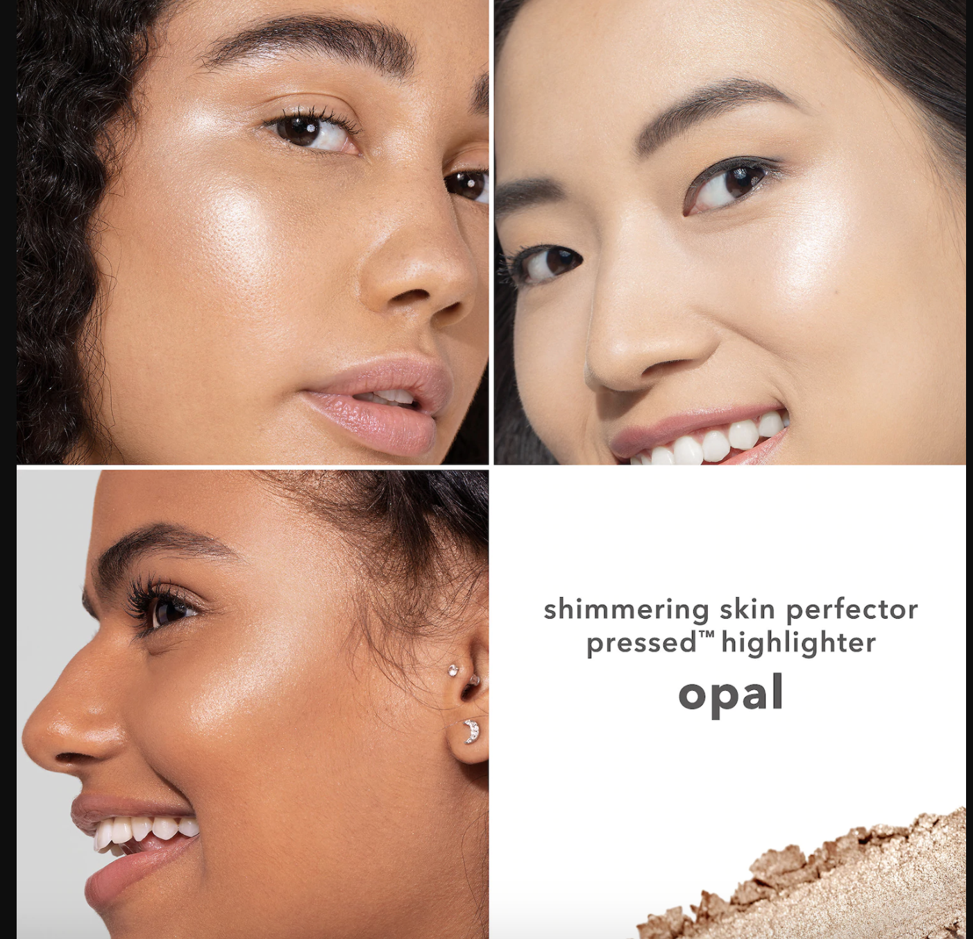 Three models showing how flattering the shade is on different skin tones