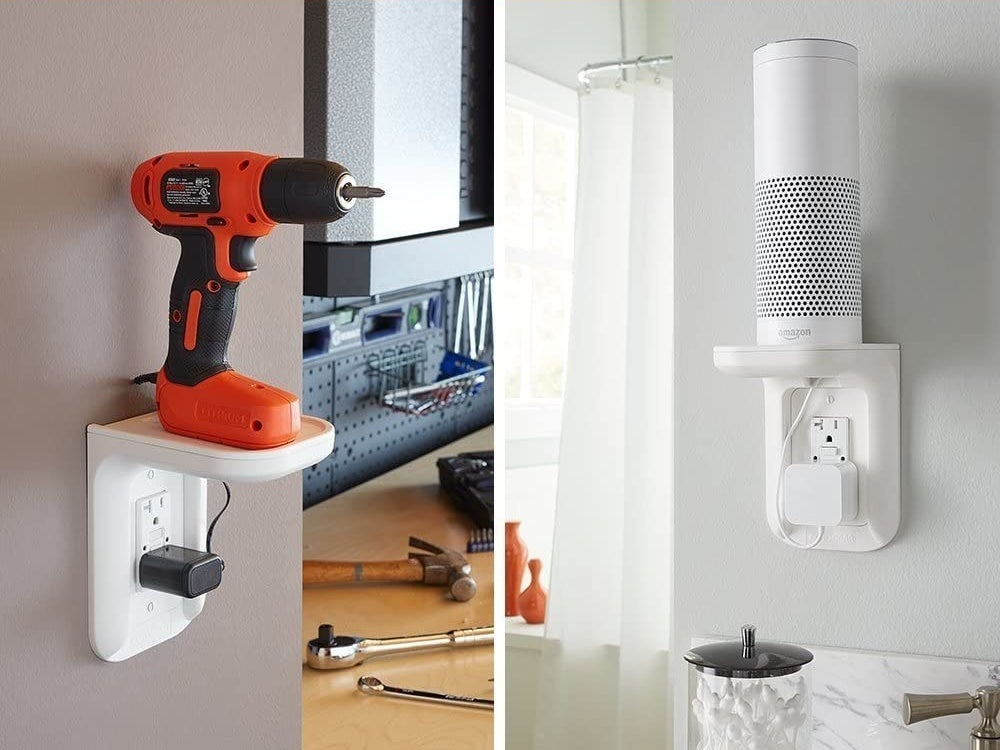 A drill and speaker on outlet shelves
