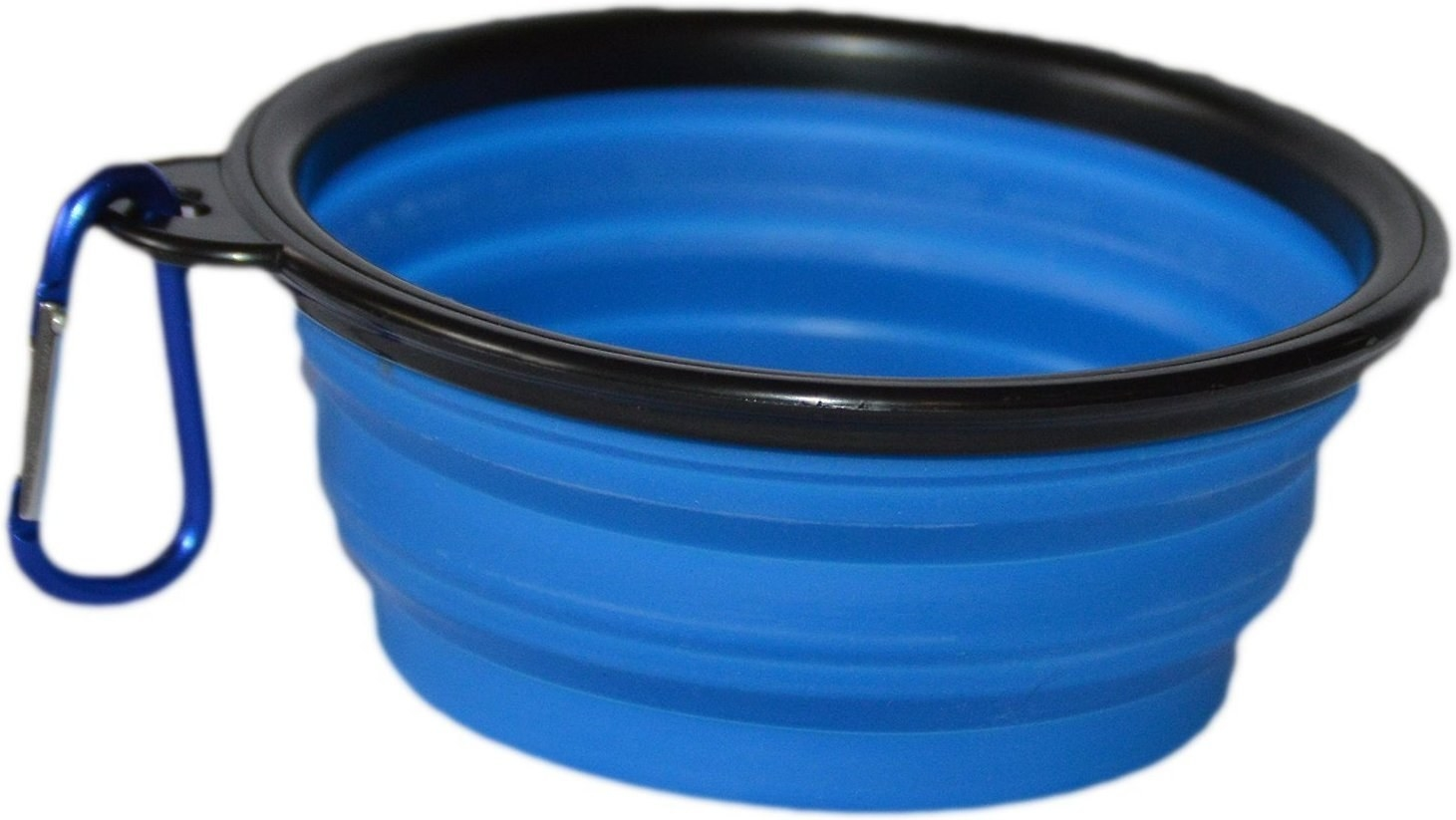 collapsable silicone bowl with carabiner attached