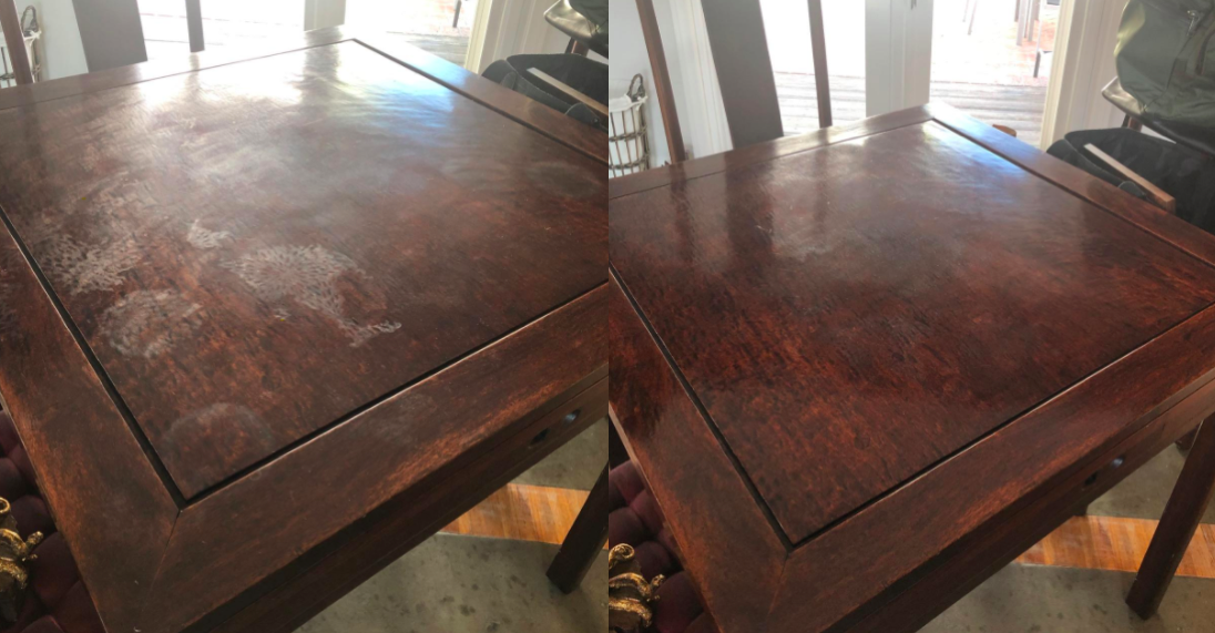 A before and after customer review photo of their dining table with and without watermarks