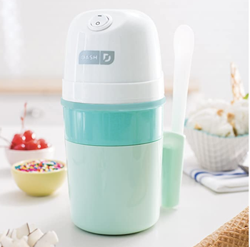 A small pint-sized electric ice cream maker