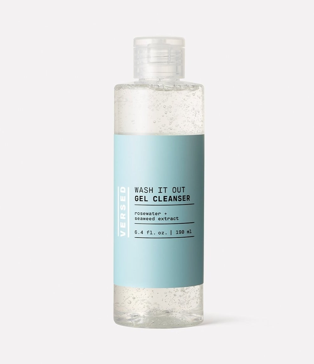 A bottle of the gel cleanser with a flip-open cap