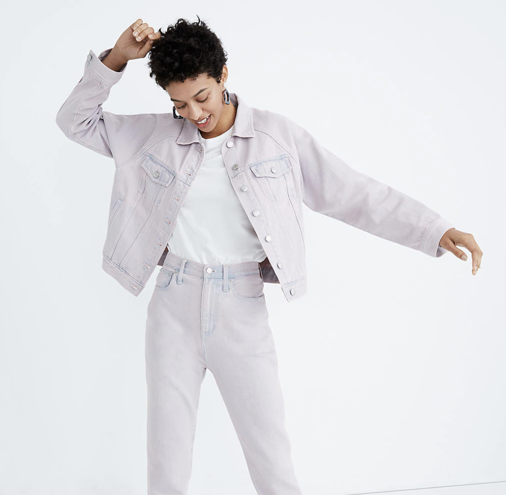 a model wearing the pastel lilac jacket