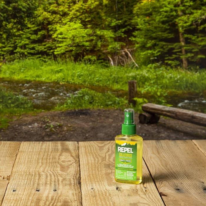 A bottle of REPEL Plant-Based Lemon Eucalyptus Insect Repellent