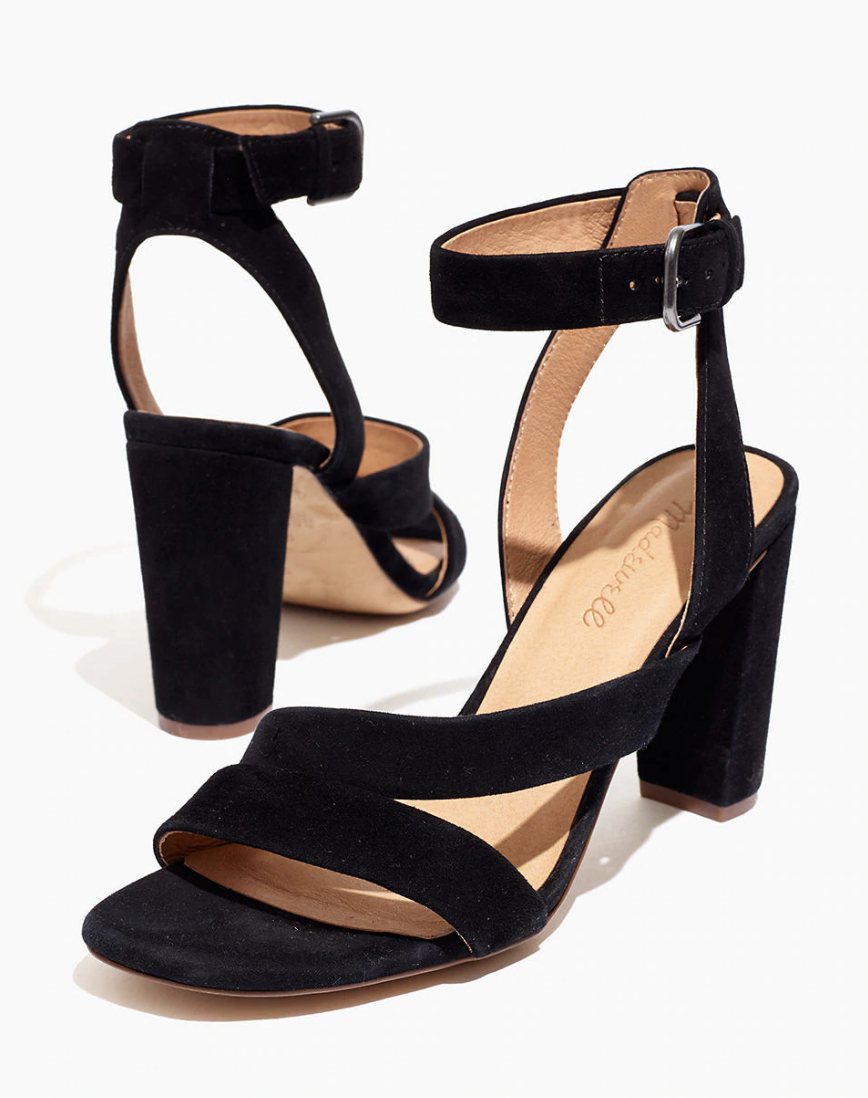 black strappy suede sandals with a 3.5 inch heel