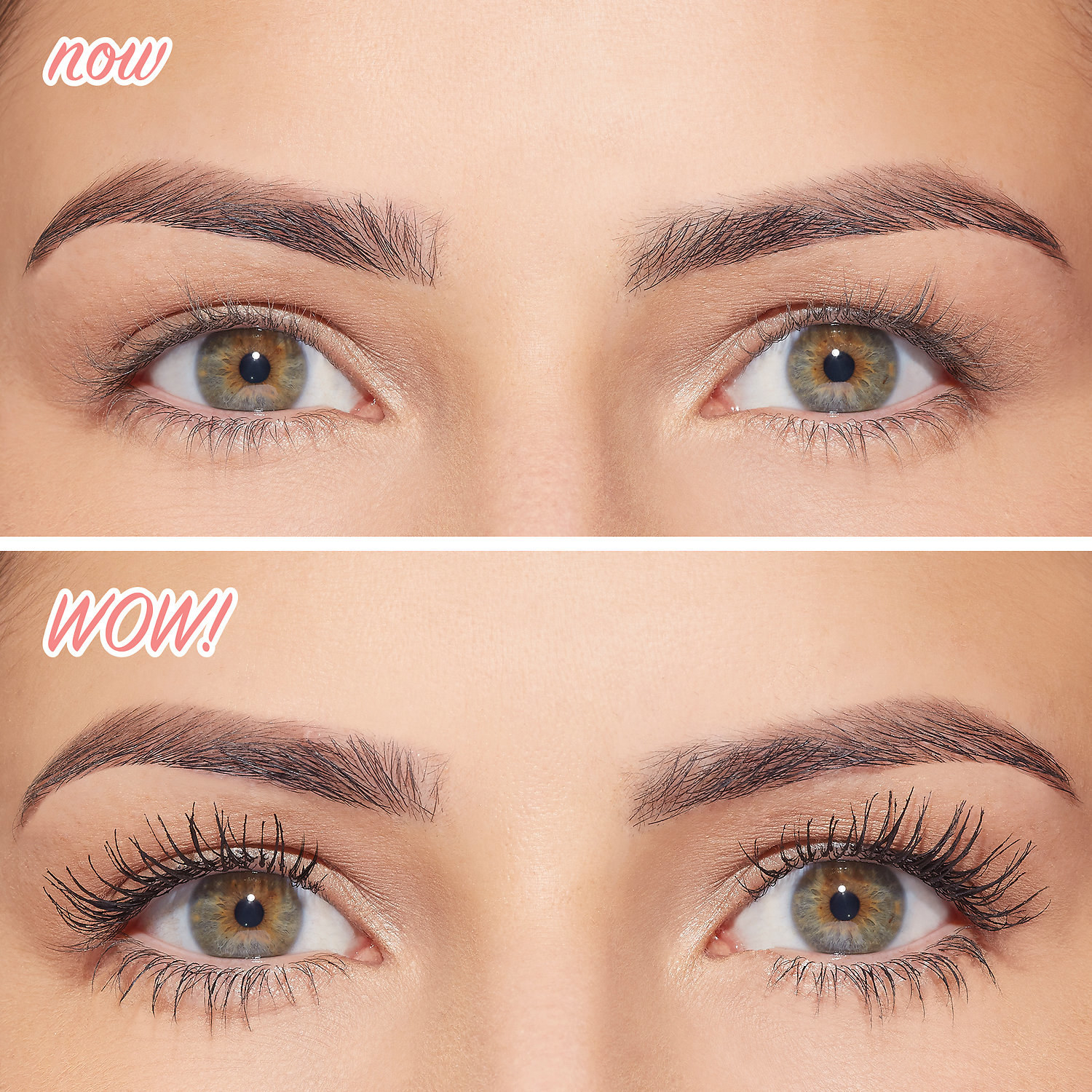 model showing a before of plain thin lashes, and an after of thick, long lashes after wearing the product