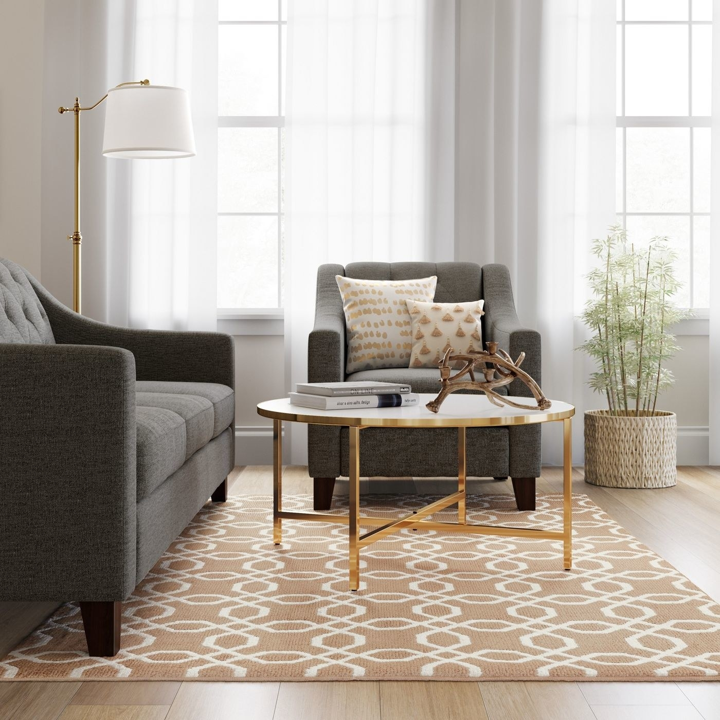 tan and white patterned rug