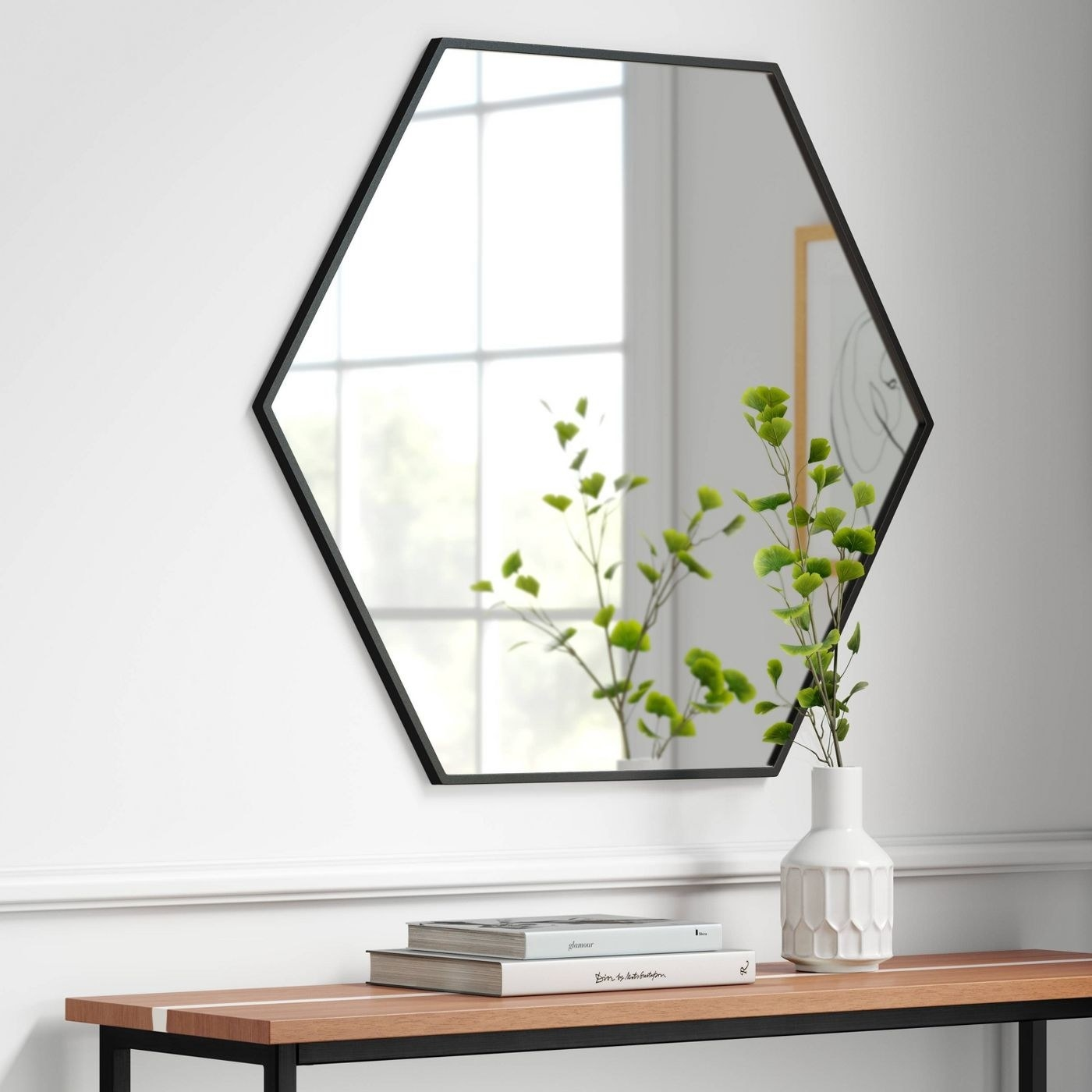 the mirror with a thin black frame