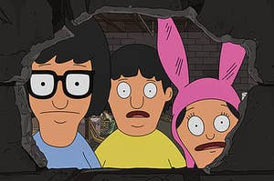 Tine, Gene and Louise from the show Bob's Burgers