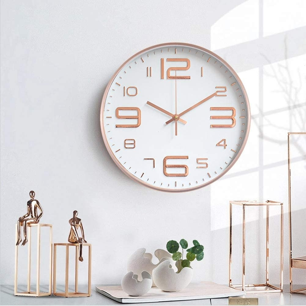 A clock is hung on a wall