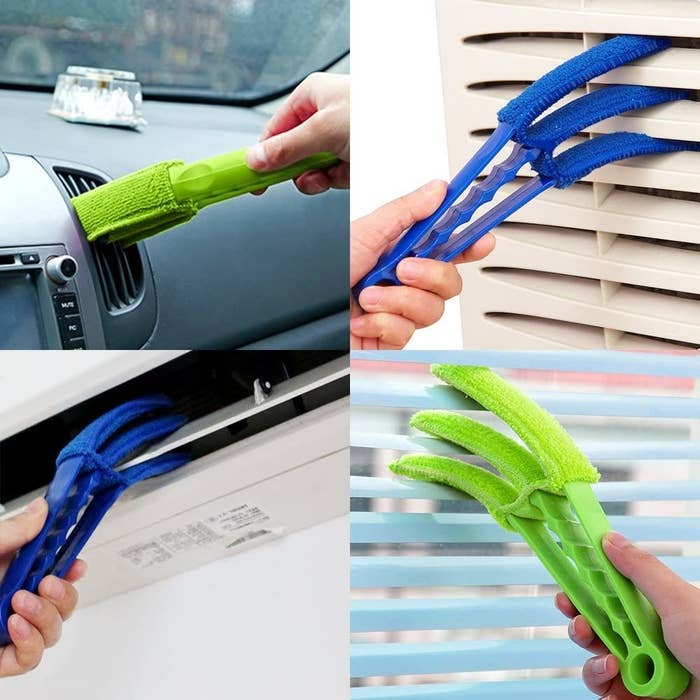 The microfibre tools being used to clean out vents and blinds