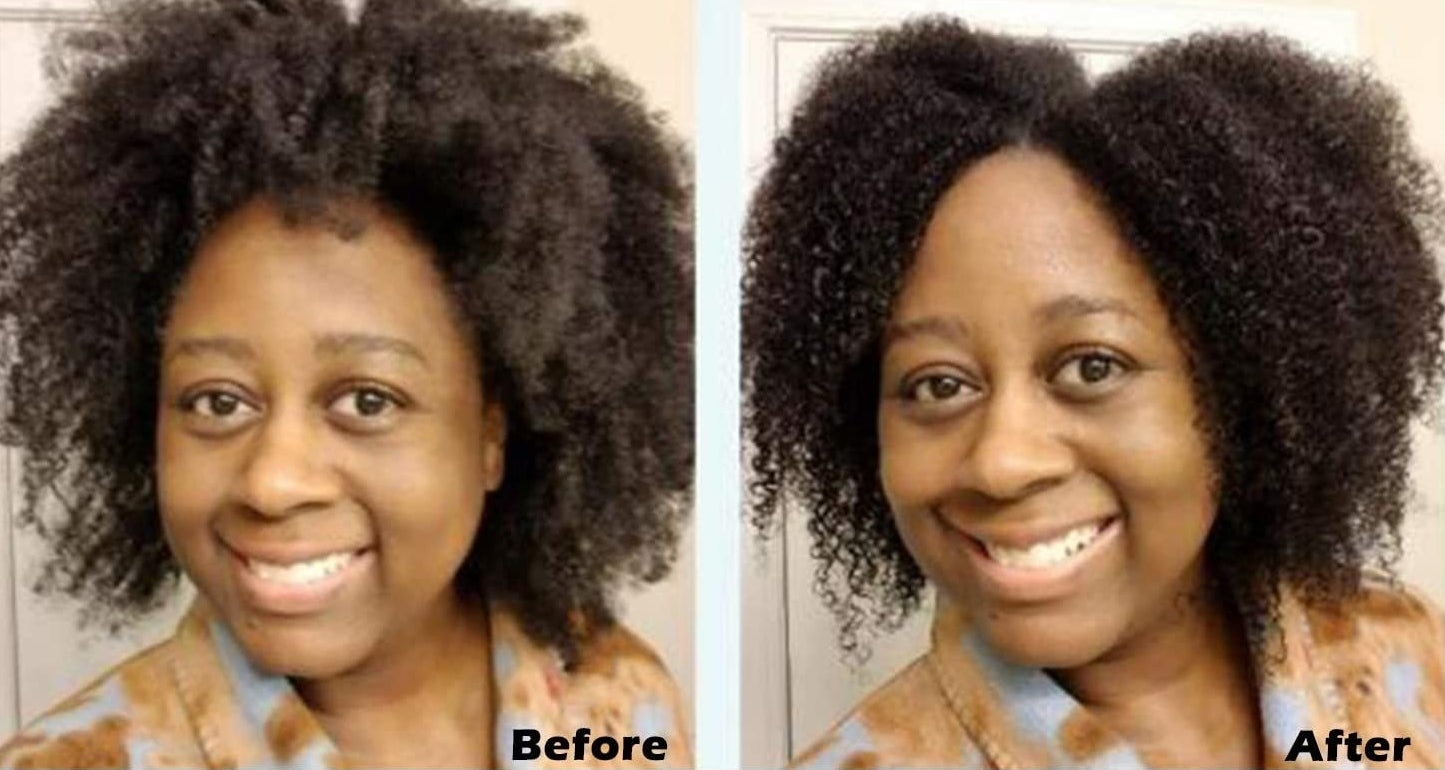 The brush and a comparison showing a person's hair before and after using it