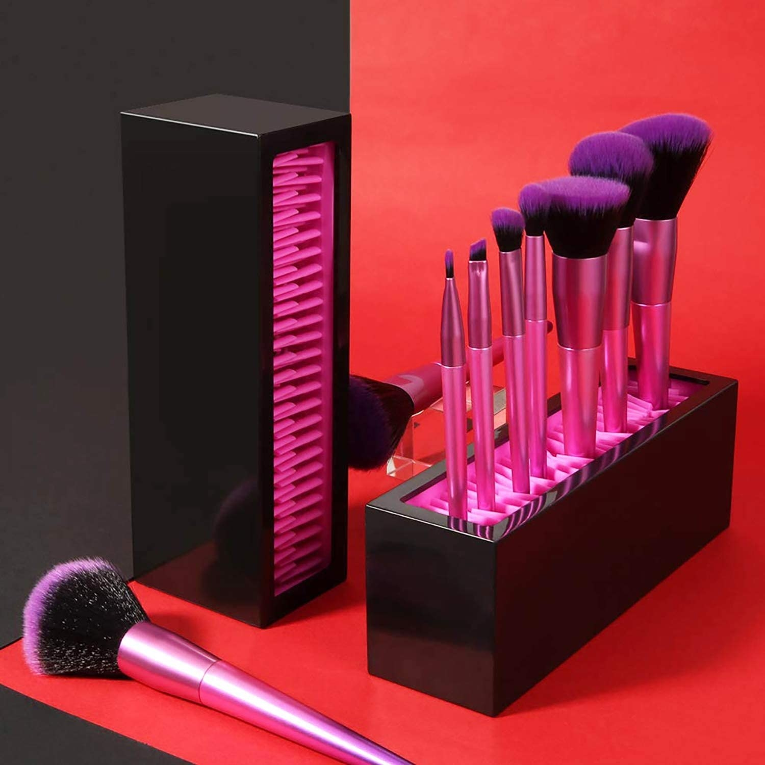 Makeup brushes standing up in the makeup brush organizer