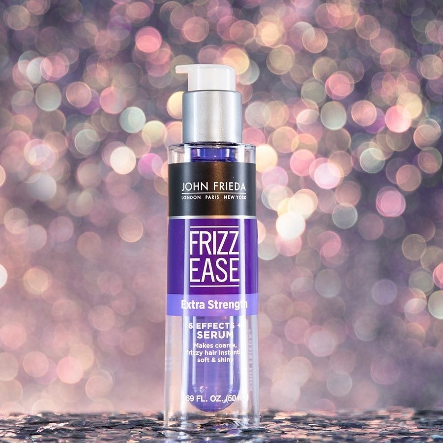 A bottle of product on glittery background