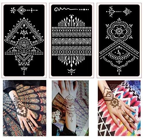 Three stencils for henna and three hands with corresponding henna designs