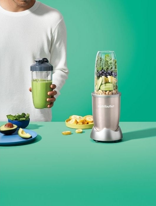 personal-sized NutriBullet with silver bottom and clear glass top