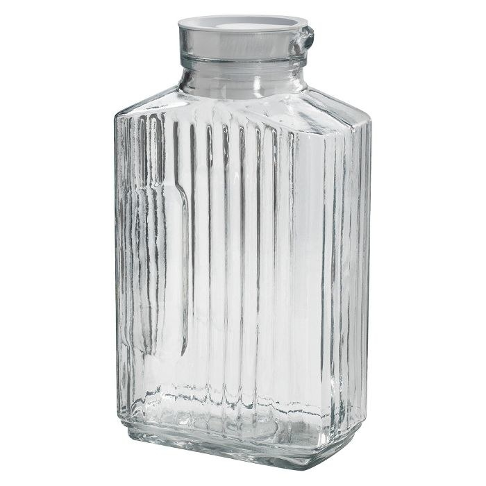 the clear glass pitcher