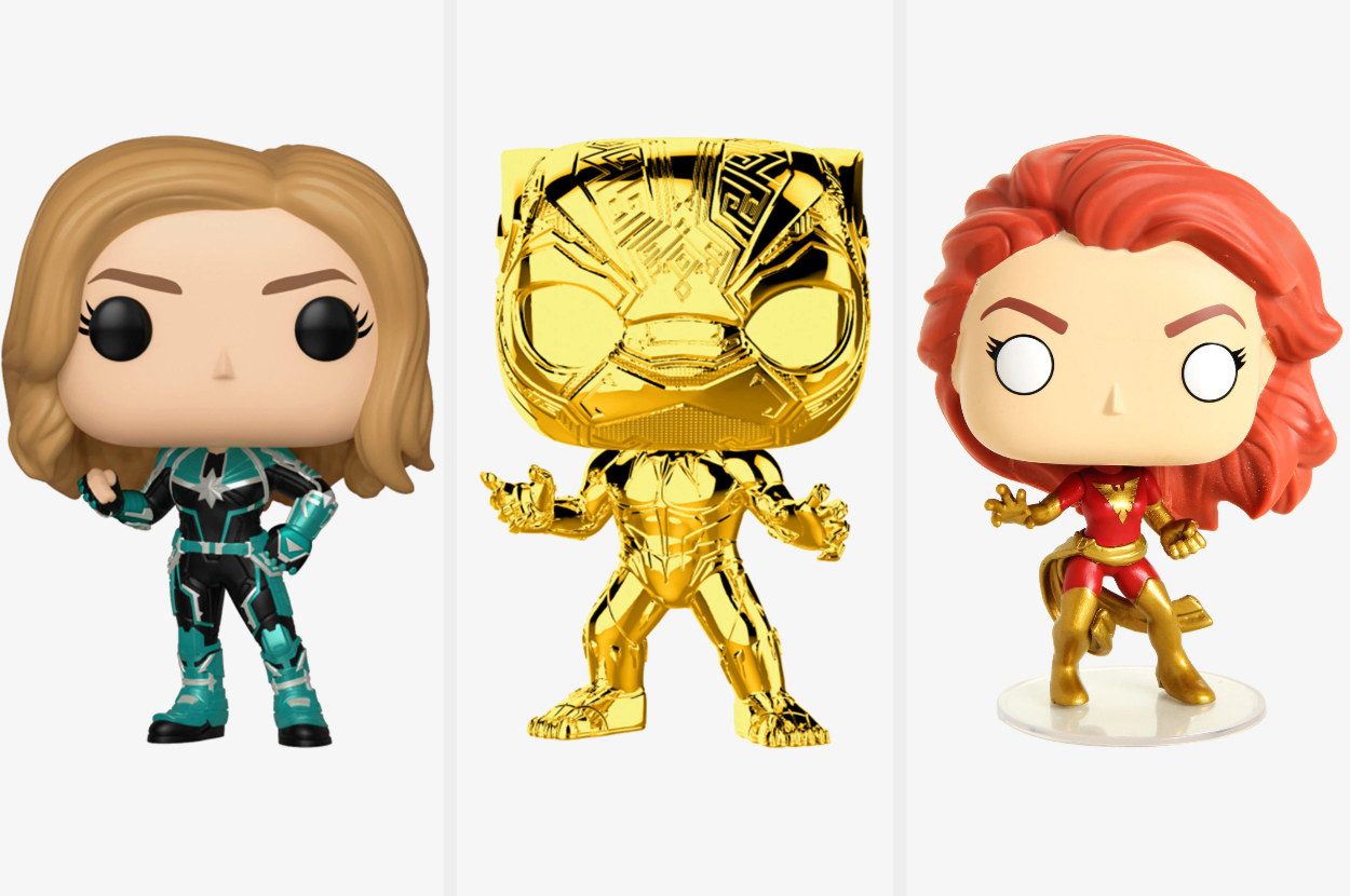 A triptych of Funko Pops including Captain Marvel, a golden Black Panther, and Dark Phoenix