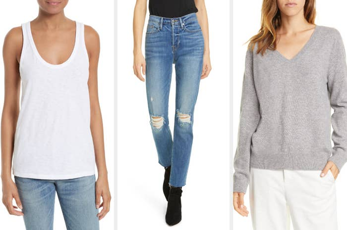 A triptych of models wearing a white tank top, blue jeans with frayed knees, and a v-neck gray sweater