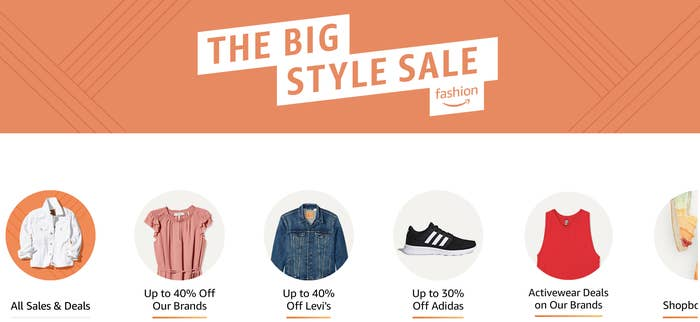 A screenshot of the Amazon sale home page showing links to Levi's, Adidas, and Amazon brands