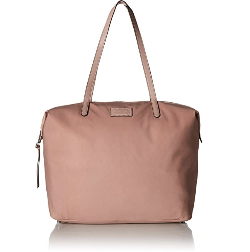 A dusty pink nylon zippered tote with straps